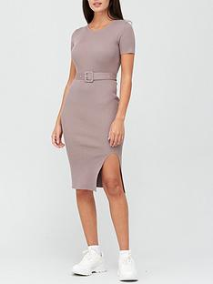missguided-missguided-self-belt-ribbed-midi-dress-brown