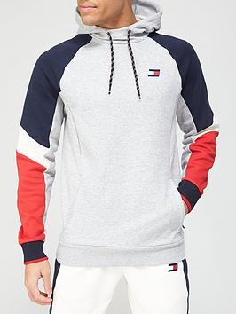 tommy-sport-blocked-fleece-hoodie-grey