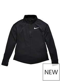 nike-older-childrensnbsprun-long-sleeve-half-zip-top-black-silver