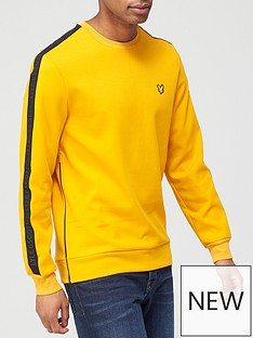 lyle-scott-fitness-sleeve-tape-crew-yellow