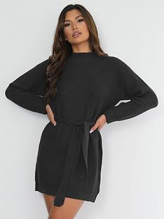 missguided-missguided-high-neck-basic-dress-with-belt-black