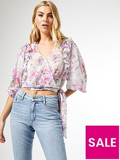 dorothy-perkins-floral-ruffle-sleeve-top-multi