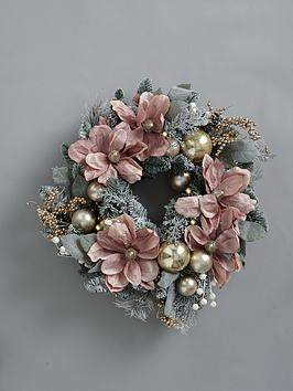frosted-rose-pre-lit-magnolia-wreath