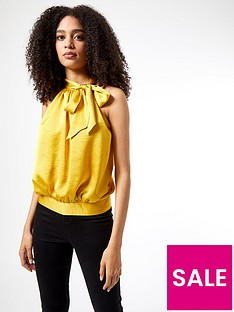 dorothy-perkins-ochre-satin-halter-top-yellow