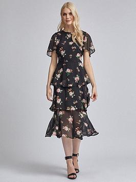 dorothy-perkins-floral-angel-sleeved-tiered-midi-dress-black