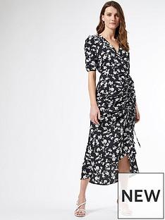 dorothy-perkins-floral-ruched-side-midi-dress-black