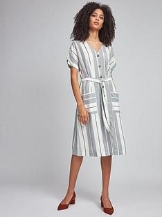 dorothy-perkins-stripe-shirt-dress-navy