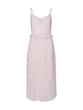 dorothy-perkins-spot-dobby-strappy-pleated-midi-dress-cream