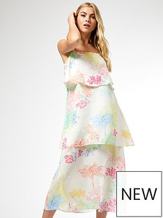 dorothy-perkins-tropical-triple-tier-dress-cream
