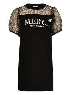 river-island-girls-merci-organza-sleeve-jersey-dress-black