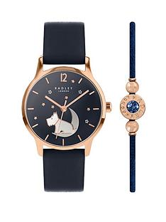 radley-radley-navy-and-rose-gold-detail-crescent-moon-dial-navy-leather-strap-ladies-watch-and-matching-bracelet-gift-set