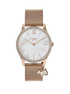 radley-radley-mother-of-pearl-glitz-dial-with-charm-and-rose-gold-stainless-steel-mesh-strap-ladies-watch