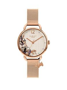 radley-radley-silver-and-rose-gold-floral-dial-with-charm-rose-gold-stainless-steel-mesh-strap-ladies-watch