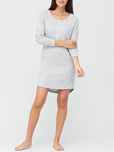 v-by-very-henley-rib-nightdress-grey
