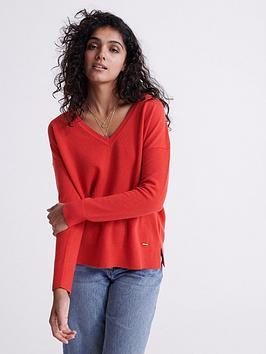 superdry-edit-v-neck-premium-knitted-jumper-red