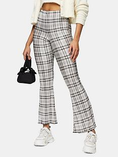 topshop-check-plisse-flare-trousers-grey