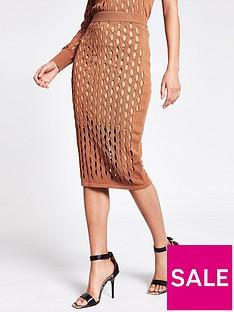 river-island-mesh-co-ord-skirt-tan