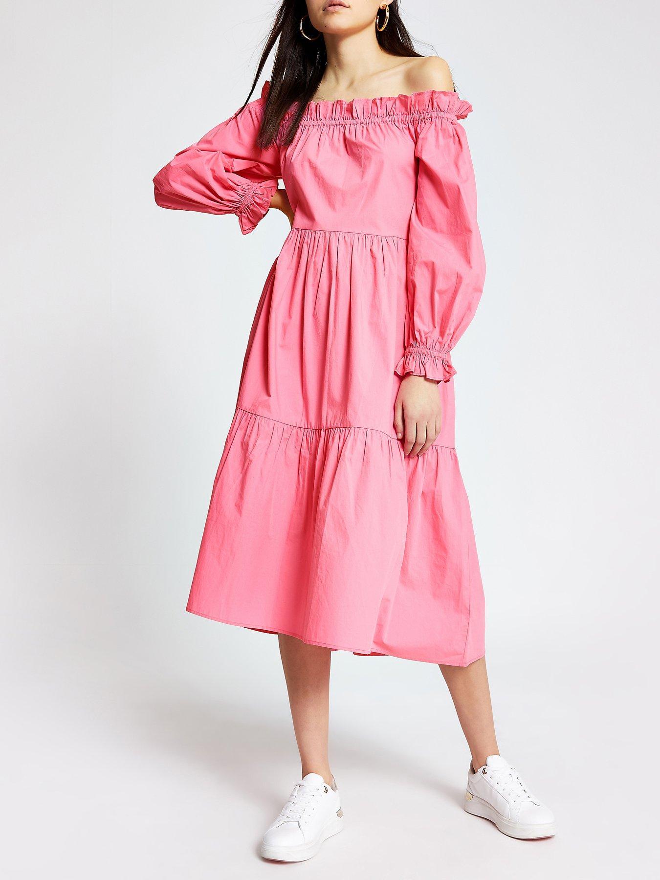 Stunning Brand New Womens River Island Ivory Midi Summer Dress with Belt 8-16