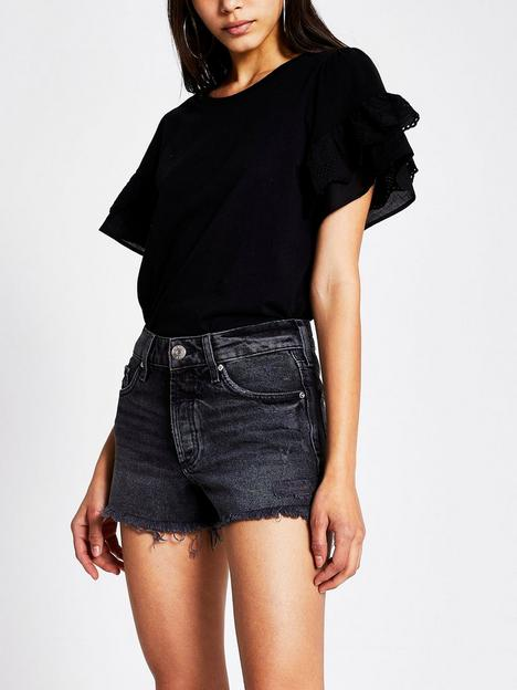 river-island-denim-shorts-black