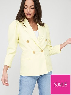 river-island-puff-sleeve-double-breasted-blazer-yellow