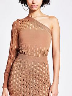 river-island-one-shoulder-mesh-co-ord-top-tan