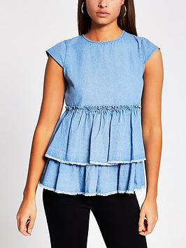 river-island-denim-smock-top-blue