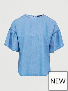 v-by-very-nova-soft-touch-denim-ruffle-sleeve-top--light-wash