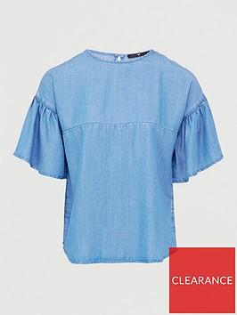 v-by-very-nova-soft-touch-denim-ruffle-sleeve-top--light-wash