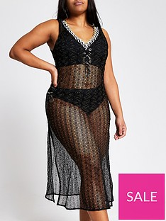ri-plus-crochet-knit-beach-midi-cover-up-black