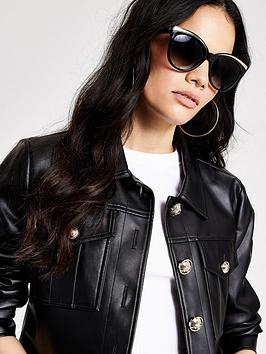 River Island Cateye Sunglasses - Black, Black, Women