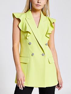 ri-petite-sleeveless-frill-blazer-lime