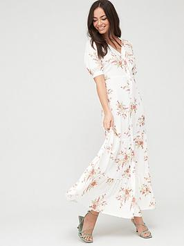 river-island-floral-button-up-midi-dress-cream