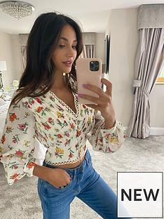 michelle-keegan-lace-trim-printed-blouse-floral