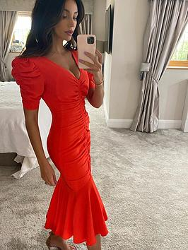 michelle-keegan-ruched-front-midi-dress-red