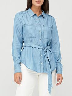 v-by-very-tie-waist-denim-shirt-blue
