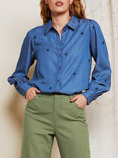 fabienne-chapot-dina-embroidered-chambray-shirt-blue