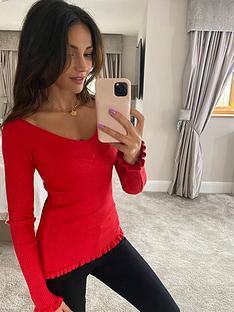 michelle-keegan-bardot-ribbed-knit-jumper-red