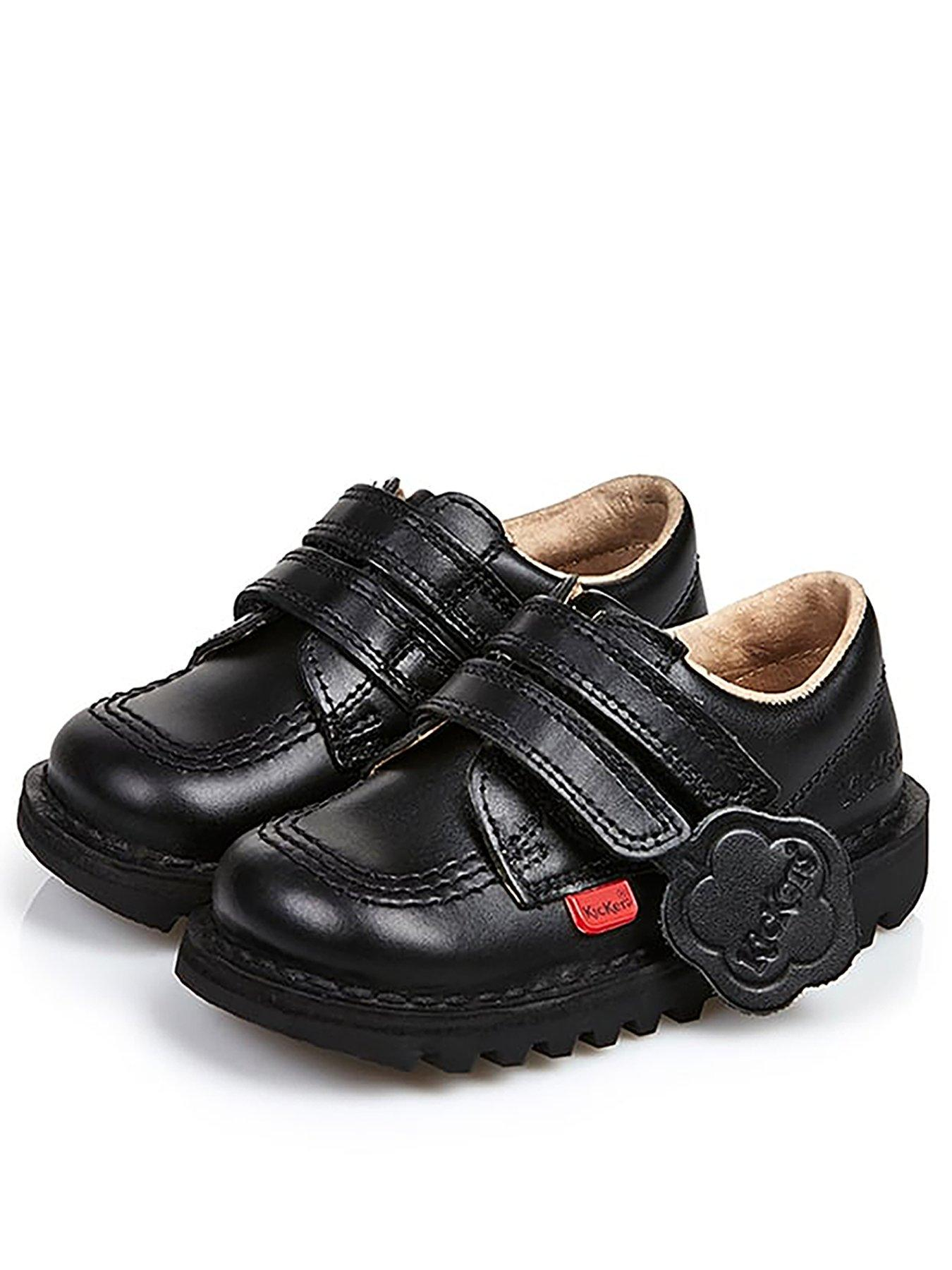 Infant Girls Kickers Fragma Pop Shoe In Black-Hook And Loop Fastening-Open
