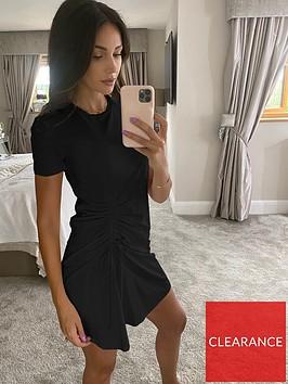 michelle-keegan-ruched-side-t-shirt-dress-black