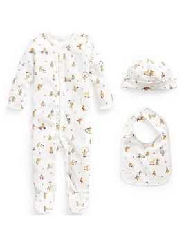 ralph-lauren-baby-unisexnbspbear-print-all-in-one-hat-and-bib-grey