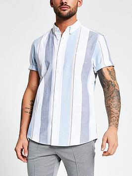 river-island-short-sleevenbspwide-oxfordnbspstripe-shirt-whiteblue