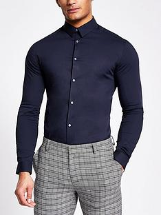 river-island-long-sleevenbspsmart-shirt-navy