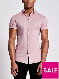 river-island-short-sleevenbspmuscle-fit-shirt-light-pink