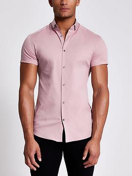 river-island-short-sleevenbspmuscle-fit-shirt-light-pink