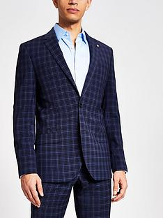 river-island-check-skinny-fit-suit-jacket-navy