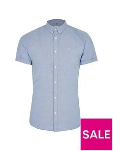 river-island-short-sleevenbspmuscle-oxford-shirt-blue