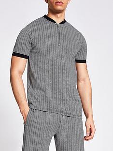 river-island-mono-stripe-baseball-polo-shirt-dark-grey