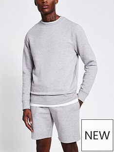 river-island-marl-long-sleeve-basic-crewnbspneck-sweat-grey