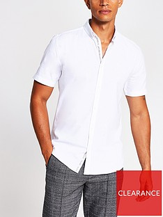river-island-short-sleeve-muscle-oxford-shirt-white