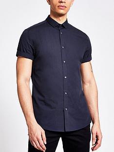 river-island-short-sleeved-shirt-navy